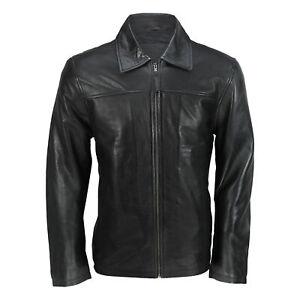 Mens-New-Black-Soft-Genuine-Real-Leather-Collar-Smart-Casual-Harrington-Jacket