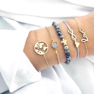 5PCS-Set-Punk-TurtleMap-CrystalBeads-Multilayer-Pendant-Bracelet-Charm-Jewelr-UQ