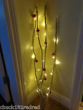 90cm Snow/Snowy Effect Branch/Pre-Lit Twig 20 Lights/Christmas+Red Baubles