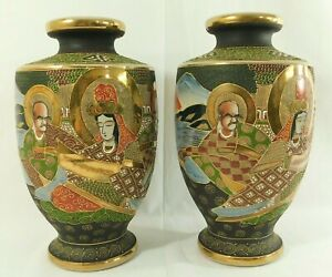 "Large Pair Antique/Vtg 12.5"" SIGNED Japanese Satsuma Enamel Porcelain Vases"