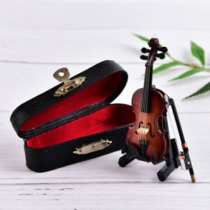 Mini Violin Miniature Musical Instrument Wooden Model with Support and Case TK