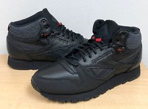 MENS REEBOK CLASSIC LEATHER MID TWD BS6363 Black Excellent Red ... 2ef349797