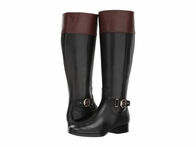 0d2c1efd3 Michael Kors Harland Riding Boots Black/Mocha Gold Hardware Size 6.5 New