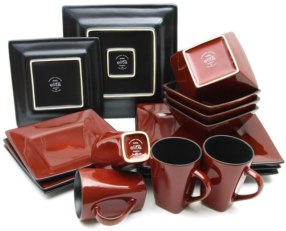 16-Pcs rouge Hard Square Dinnerware Set Serveware Serving Holiday Special Party