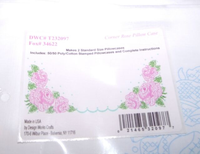 Tobin Stamped For Embroidery Pillowcase Pair 20X30-Pink Floral