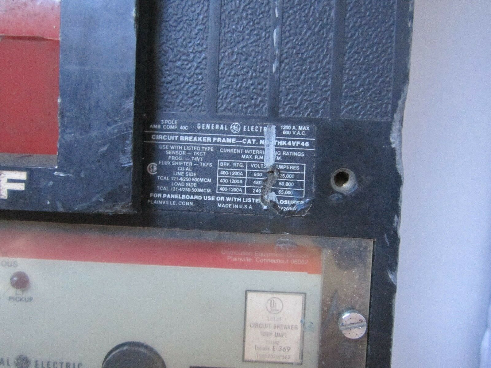 Ge Thk4vf46 Circuit Breaker 1200 Amp 600 Vac 3 Pole With 800a Versa Used Breakers Sgda32at0400 400 Trip T4vt Ebay