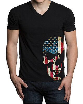 Men/'s Bottom Black American Flag Skull US Flag Biker T-Shirt Sizes S-6x
