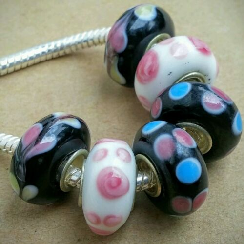 Pink and Black Disc Wholesale Single Beads Glass Beads Lampwork Glass