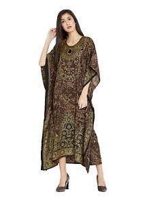 Brown-Animal-Printed-Kaftan-Boho-Women-Maxi-Long-Bohemian-Summer-Dress