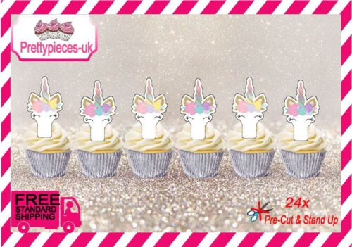 Unicorn visages 24 stand-up Pre-Cut plaquette papier Cup Cake Toppers