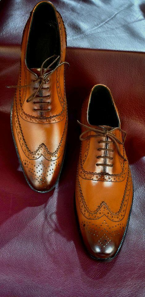 Handmade Mens Tan Tan Tan Farbe wing tip schuhe, Men brogue formal schuhe, Men dress schuhe 955a32
