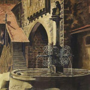 Aquarelle Signée : La Fontaine Près De La Tour Du Dolder à Riquewhir En Alsace Handicap Structurel