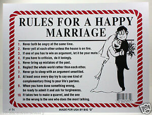 RULES FOR A HAPPY MARRIAGE 9X12 PLASTIC SIGN NEWLYWED GIFT HUSBAND Amp WIFE