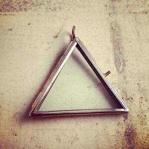 Silver two sided glass triangle frame pendant hinged locket charm image is loading silver two sided glass triangle frame pendant hinged aloadofball Choice Image