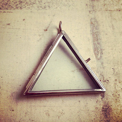 Silver Two-Sided Glass Triangle Frame Pendant Hinged Locket Charm Vintage Style