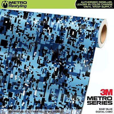 LARGE DIGITAL BABY BLUE Camouflage Vinyl Car Wrap Camo Film Sheet Roll Adhesive