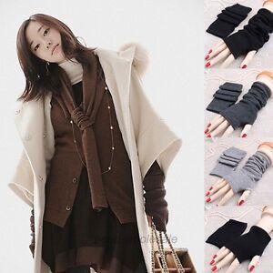 Femmes-Tricote-Mitaines-Gants-d-039-Hiver-Chaud-Doux-Chaud-Longue-Gants-Extensible