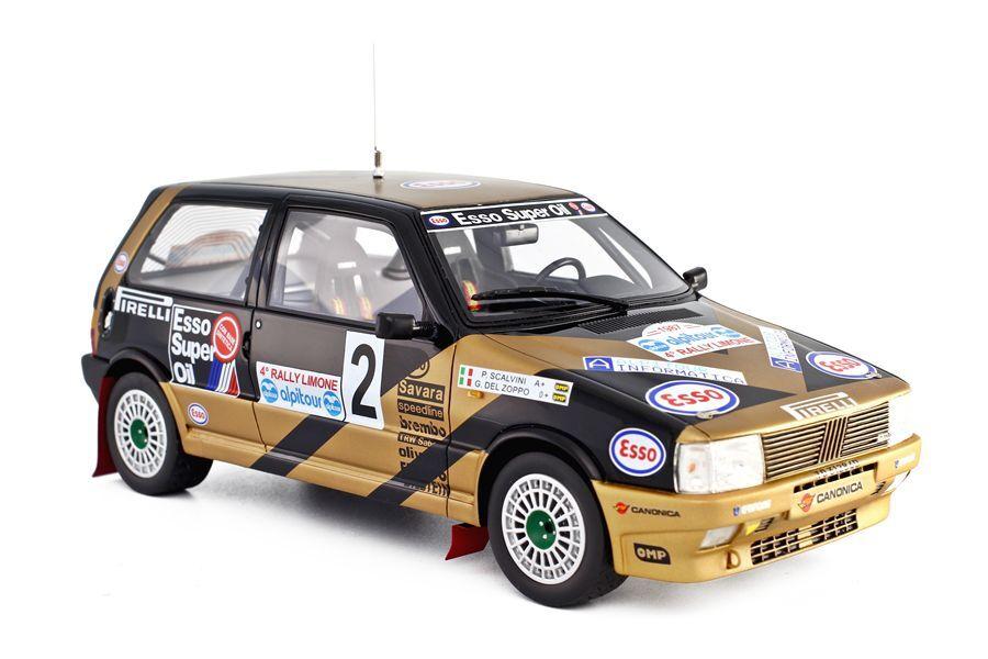 Résine die-cast models fiat uno turbo rally limone 1987 1 18 laudoracing