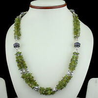 NATURAL CHIPS PERIDOT GEMSTONE  BEADED NECKLACE 65 GRAMS