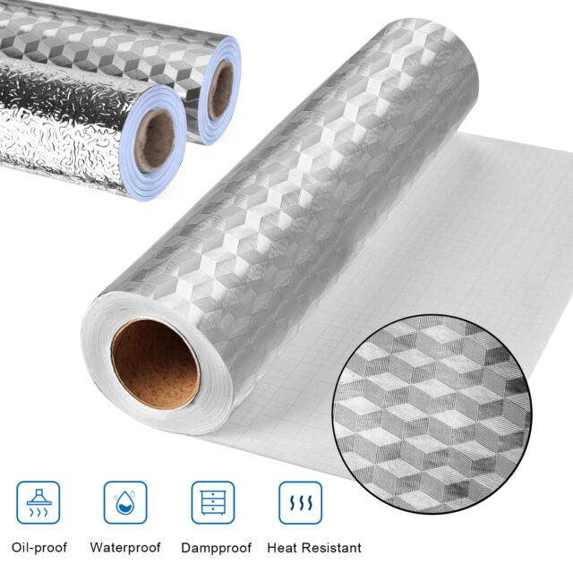 2M//roll Self-Stick Waterproof Kitchen Wall Sticker Oil-proof Aluminum Foil Decor