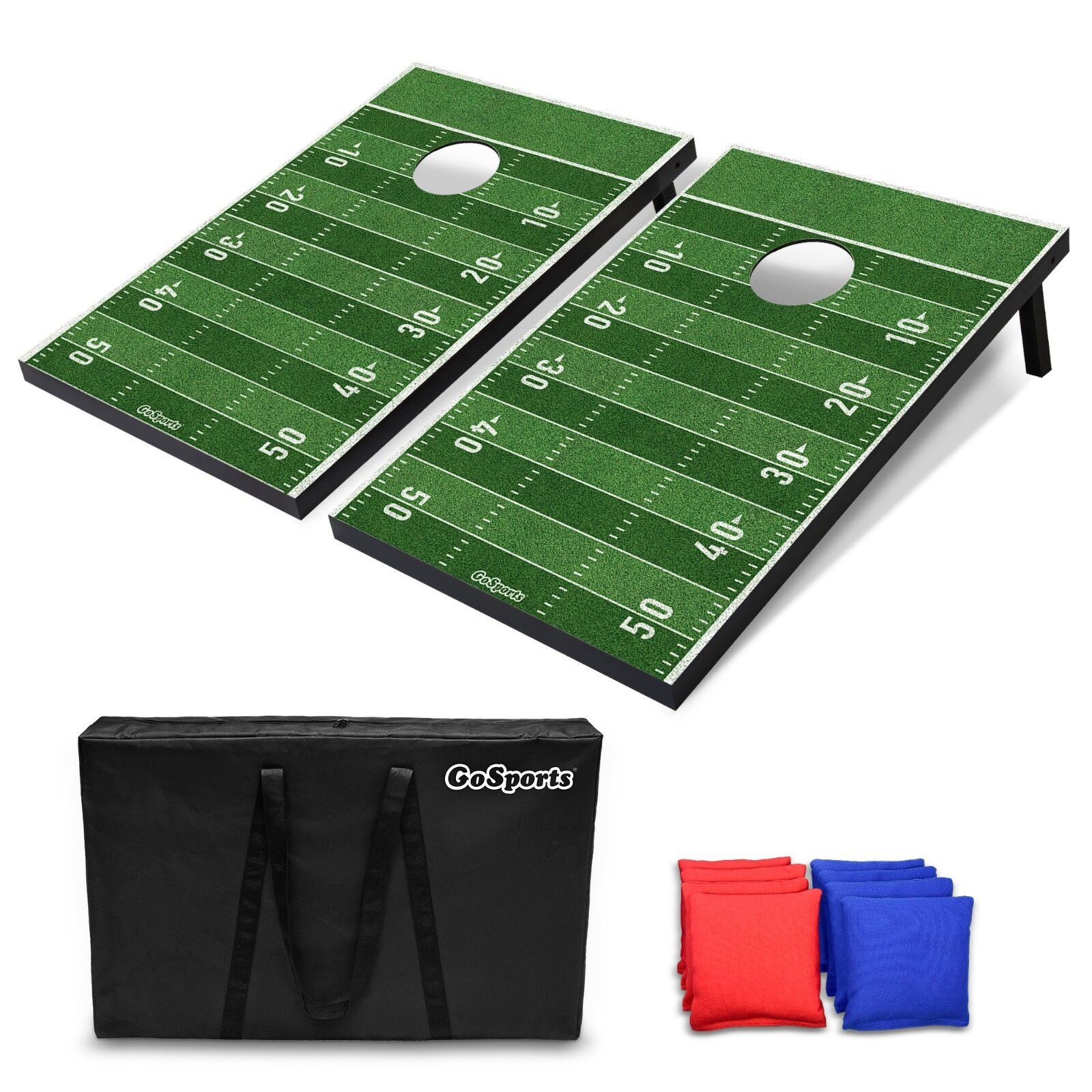 GoSports Portable Tailgate Cornhole Boards Game Set Football Edition 3'x2'