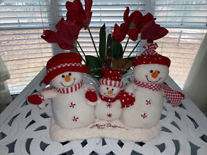 Plush Singing Dancing Animated Snowmen Family Trio Merry Christmas By Pan Asian