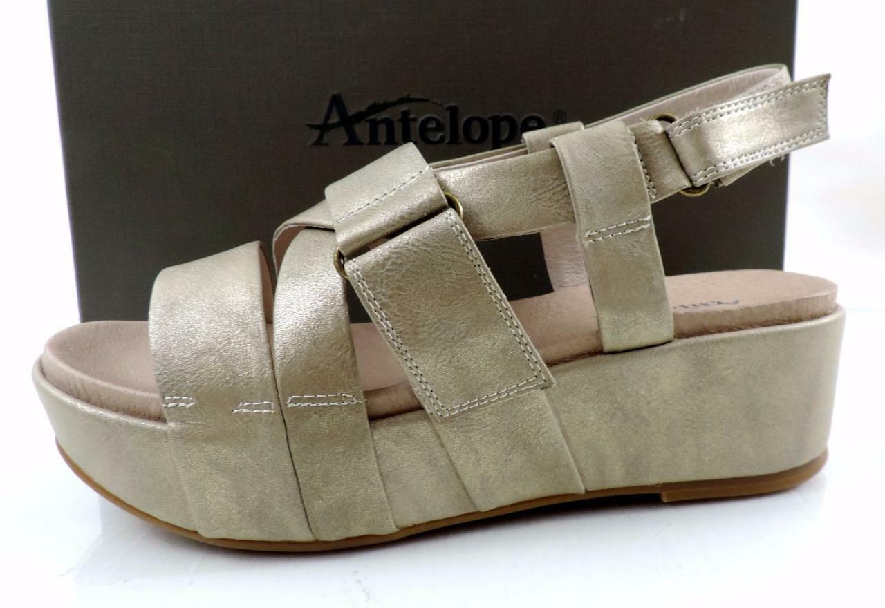 femmes chaussures Antelope 405 Double Vel Wedge Sandals Metallic gris Taille 8   EU 38