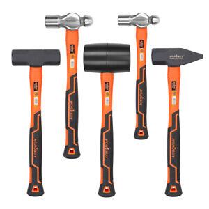 5-Pcs Hammer Set/Ball Pein Hammer/Rubber Mallet/Sledge Hammer/Cross Pein Hammer