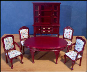 1-12-dolls-house-miniature-Dining-Room-Furniture-Set-Table-chairs-Dresser-BN-LGW