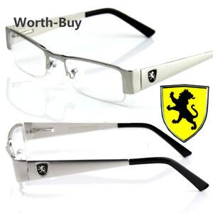 New-Khan-Clear-Lens-Fashion-Glasses-Rectangular-Frame-Mens-Womens-Metal-Half-Rim