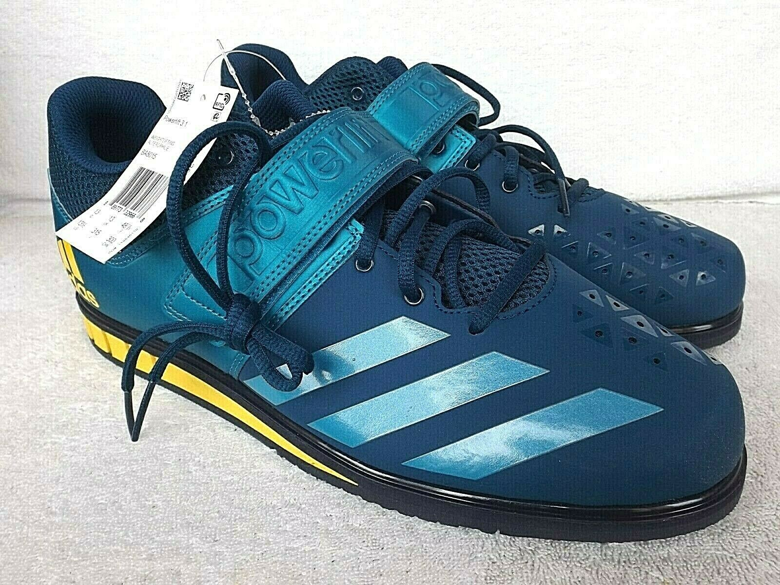 New Adidas Powerlift 3.1 Weightlifting shoes Men's Sz 13.5 Teal w  Yellow BA8015