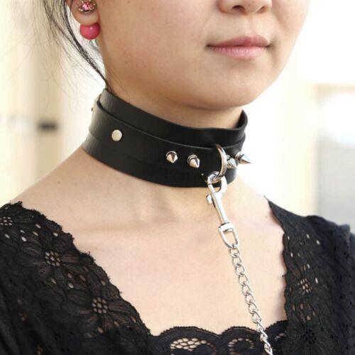 Rivet Punk Buckle Leather Choker Collar Belt Necklace Rivet Buckle Leash Chain