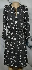 J-CREW-Black-Multicolor-Floral-Print-Dress-XS-Tie-Neck-Long-Sleeves-Lined