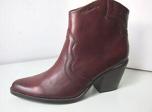 Details zu Tamaris Stiefelette brandy rot braun 37 ankle boots bootee reddish brown Stiefel