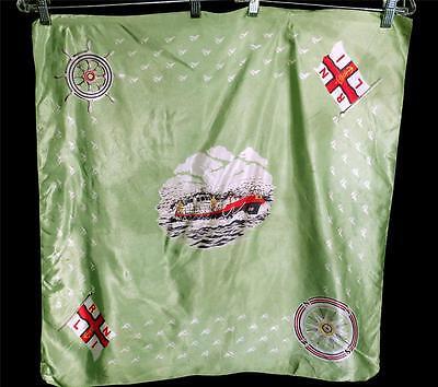 Brillante Insolito Vintage 1960's Rayon Verde Nautico Stampa Sciarpa 26 X 27