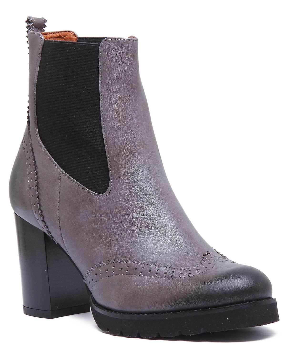 Justin Reece Alice Damens Leder Grau Heeled Ankle Stiefel