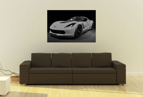 Poster of Chevy C7 Z06 Corvette HD Super Car B/&W Print Multiple Sizes Available