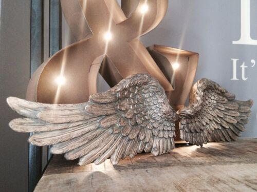 Pair of Angel Wings Ornate Vintage Shabby Cherub Wall Art Hanging Decoration