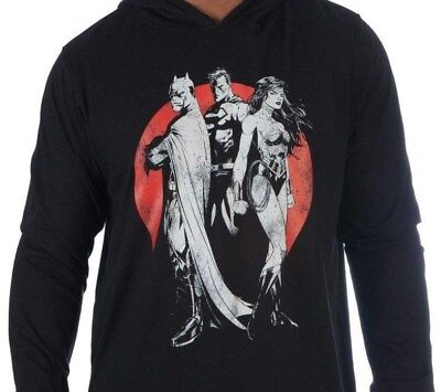 Justice League Mens Black Long Sleeve DC Comics Lightweight Pull Over Hoodie New