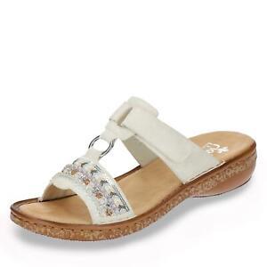 Details zu Rieker Damen Pantolette Schlupfschuhe Sandale Sandalette Sommerschuh Schuhe weiß