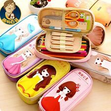 Big Faux Leather Zipper Kawaii Princess Pen Pencil Case Storage Bag Holder #B9