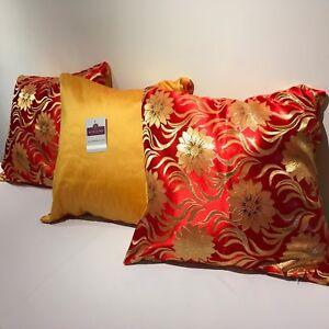 Rouge-et-or-Metallique-Floral-Brocart-avec-Raw-Soie-Support-Housse-Coussin