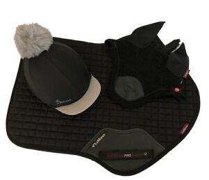 LeMieux-Matching-Black-CC-Saddlecloth-Fly-Veil-and-Hat-Silk-Full-Size