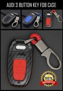Car-Key-Fob-Audi-Case-Shell-Cover-amp-Chain-CARBON-A4-S4-A1-A3-A6-A7-A8-Q3-Q5-Q7