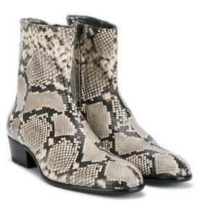 1265706500d8 Details about Mens Snake Skin Ankle Boots Leather Pointy Toe Casual Roma Chelsea  Boots Shoes