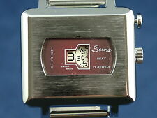 Vintage Secory  Sexy Instalite Gents Jump Hour Swiss Watch Circa 1970s NOS