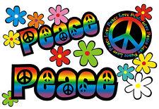 Blumen Aufkleber Hippie Blumen Autoaufkleber Flower Power: Love&Peace 03-Rainbow