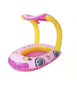 Kids-Inflatable-Pool-Float-Canopy-Pink-Blow-Up-Toy-Girls-Ride-On-89cm-Xmas-Gift