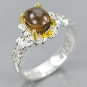 Handmade-SET-Natural-Smoky-Quartz-925-Sterling-Silver-Ring-Size-8-75-R102831