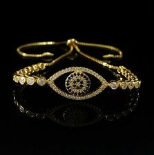 Women Yellow Gold Over 925 Sterling Silver Cz Evil Eye Adjustable Bracelet